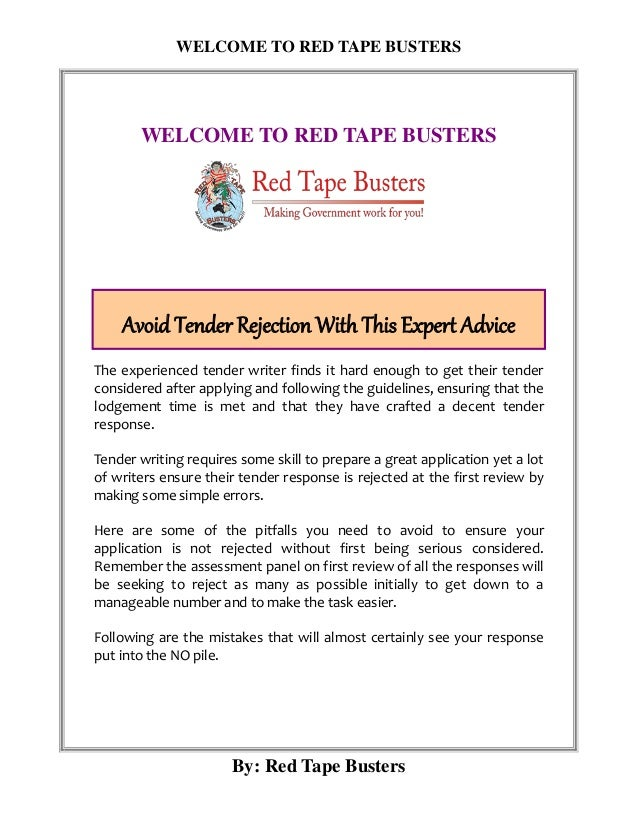 Avoid Tender Rejection With This Expert Advice | Red Tape
