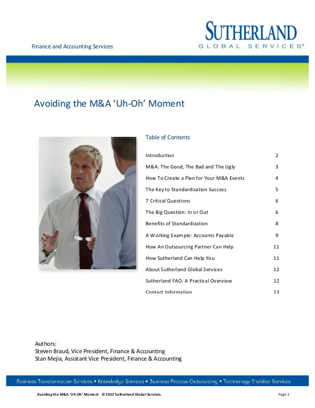 Finance and Accounting Services     Avoiding the M&A 'Uh-‐Oh' Moment                       ...