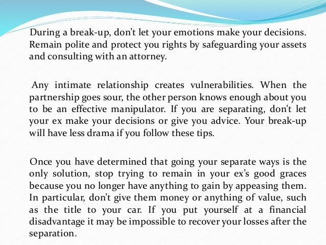 Avoid Trauma And Drama In Your Break-up