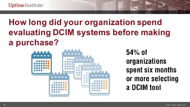 10 © 2015  Uptime  Institute, LLC How long did your organization spend  evaluating DCIM systems before makin...