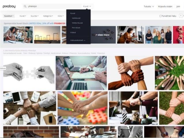 Jakaminen verkossa Verkkoympäristöjä ja -sisältöjä tehtäessä ja jaettaessa usein edellytetään valitsemaan ©-merkin ja eri ...
