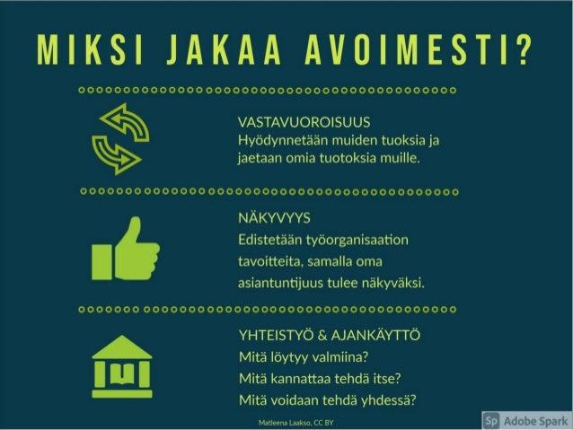 Avoin jakaminen yleistyy Opetushallitus ja moni koulutuksen järjestäjä suosittelee • Tampereen kaupunki 2013 alk. • Jaa jo...