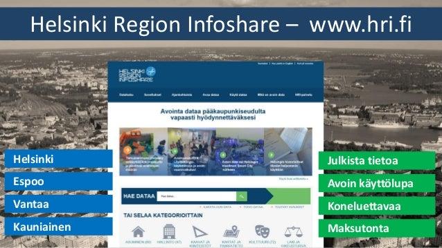 Helsinki Region Infoshare – www.hri.fi Avoin käyttölupa Koneluettavaa Maksutonta Julkista tietoa Espoo Vantaa Kauniainen H...