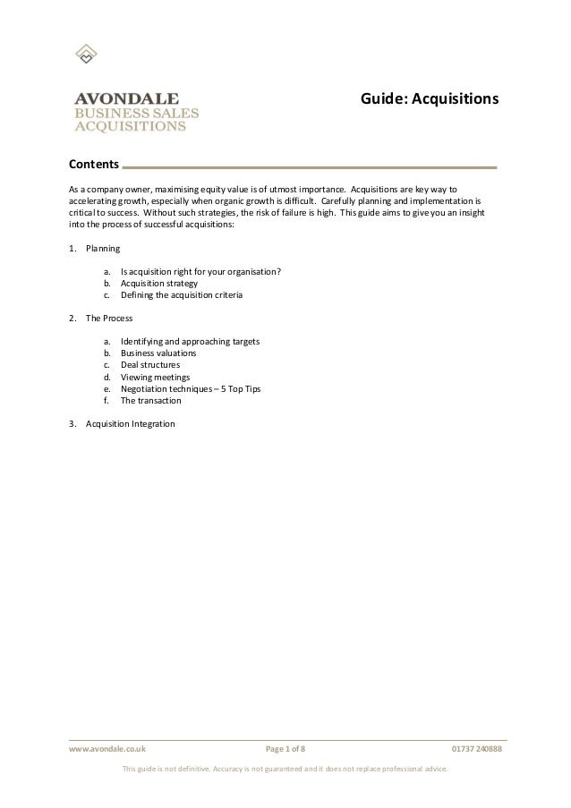 Guide: Acquisitions www.avondale.co.uk Page 1 of 8 01737 240888 This guide is not definitive. Accuracy is not guaranteed a...