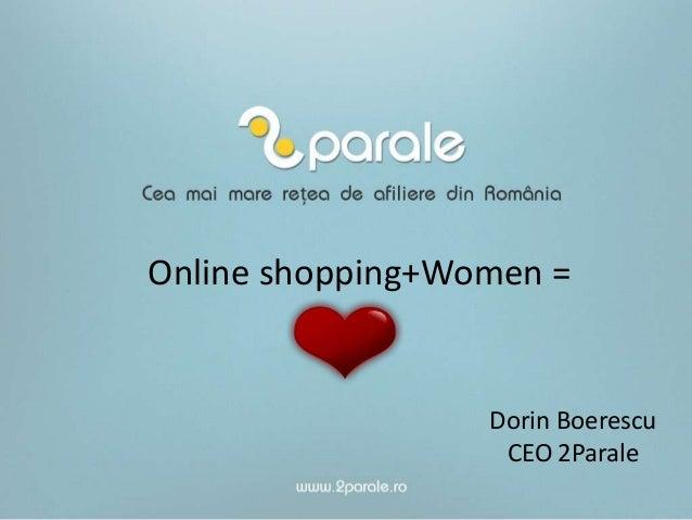 Online shopping+Women =  Dorin Boerescu CEO 2Parale