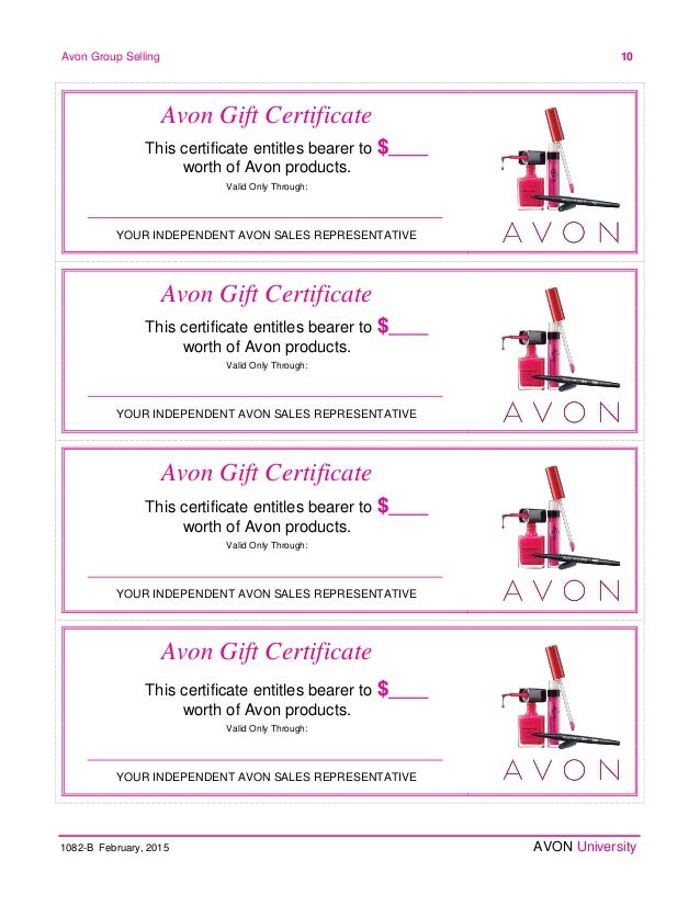 Avon home party plan february 2015 for This entitles the bearer to template certificate