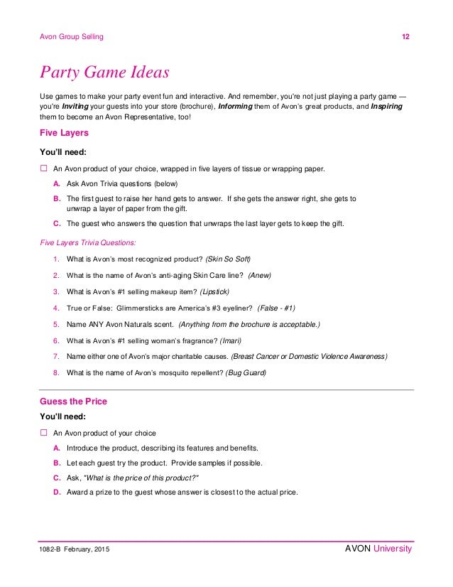 Avon Home Party Plan February 2015