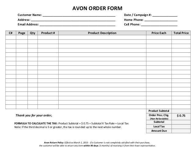 Avon Order Form  Blank Word Version
