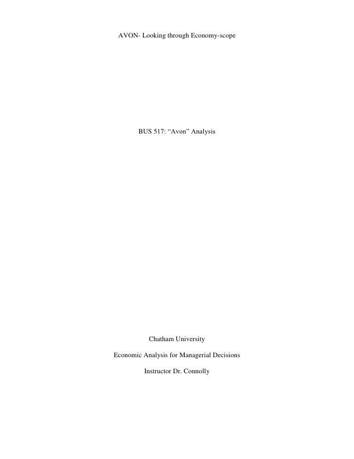 "AVON- Looking through Economy-scope<br />BUS 517: ""Avon"" Analysis<br />Chatham University<br />Economic Analysis for Manag..."