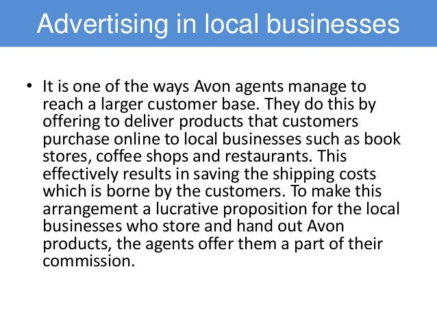 marketing and avon Learn tips on how to sell avon online, build an avon team, and sell more avon find ideas and tools to help you become a successful representative.