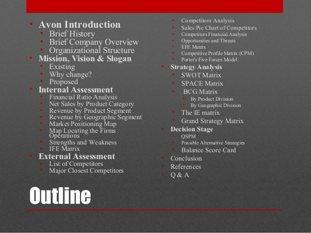avon strategy analysis An example of the avon cosmetics  the management strategy of direct selling is quite  achieve organizational goal after analysis and understanding on.