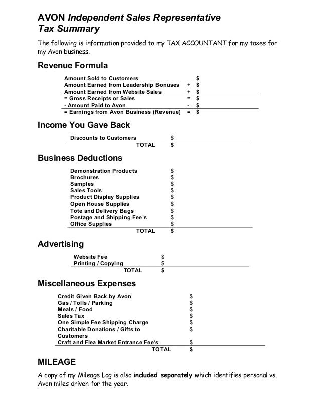 Avon Tax Summary Sheet Template
