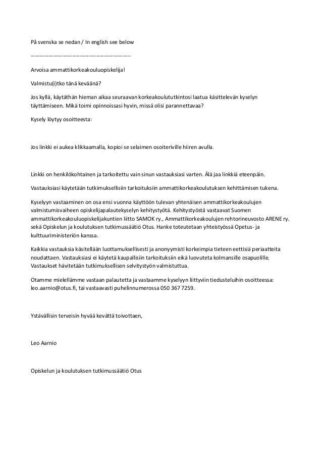 På svenska se nedan / In english see below ------------------------------------------------------Arvoisa ammattikorkeakoul...