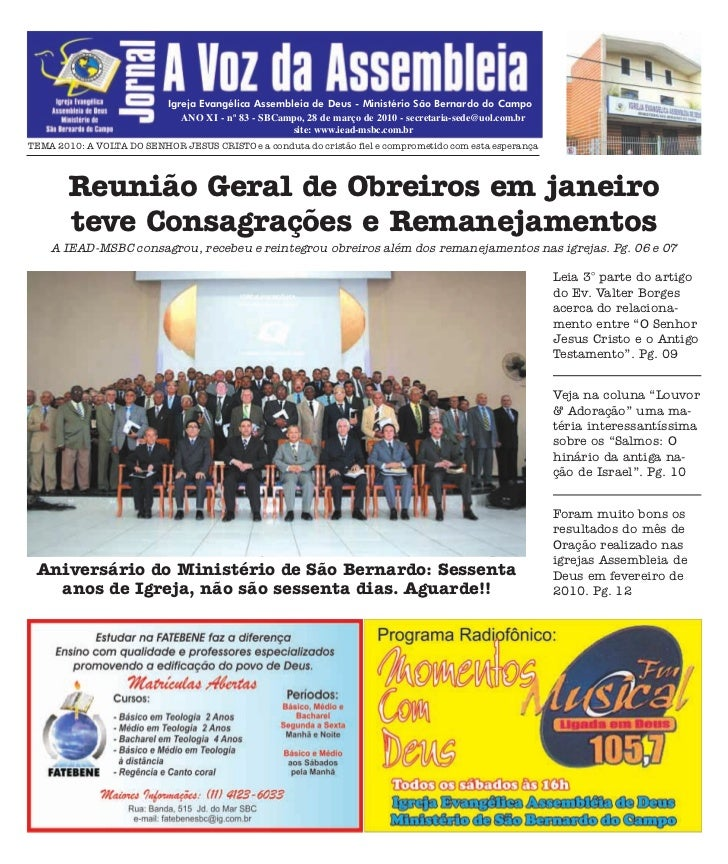 Igreja Evangélica Assembleia de Deus - Ministério São Bernardo do Campo                                ANO XI - nº 83 - SB...