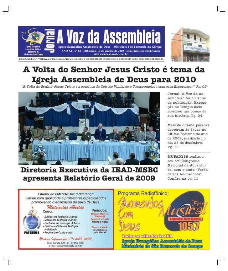 Igreja Evangélica Assembleia de Deus - Ministério São Bernardo do Campo                                ANO XI - nº 82 - SB...