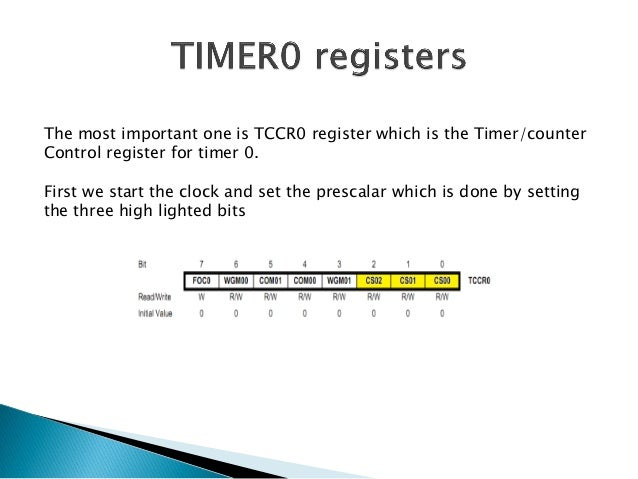   The register where the counting takes place is the TCNT0 register.It counts automatically and overflows and restarts ag...