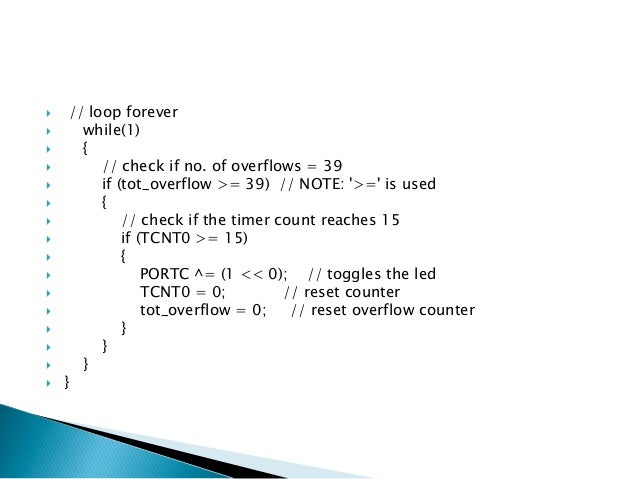   TIMSK-TIMER/COUNTER INTERRUPT MASK REGISTER  This is used to enable the timer interrupt.TOIE0 is timer overflow interru...