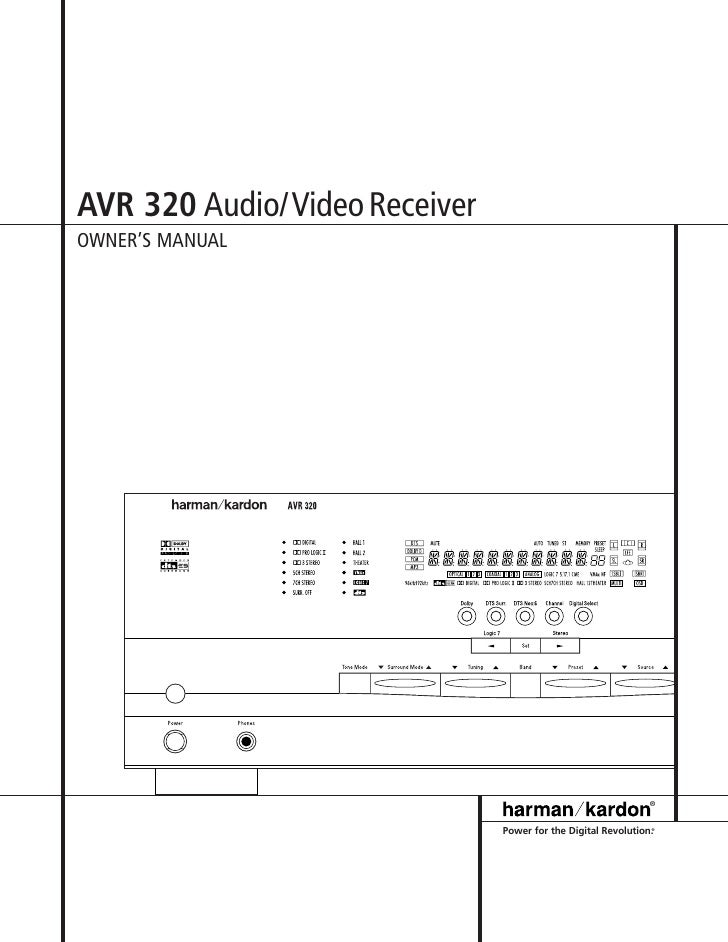 Harman kardon avr-320 av receiver owners manual [plastic comb.