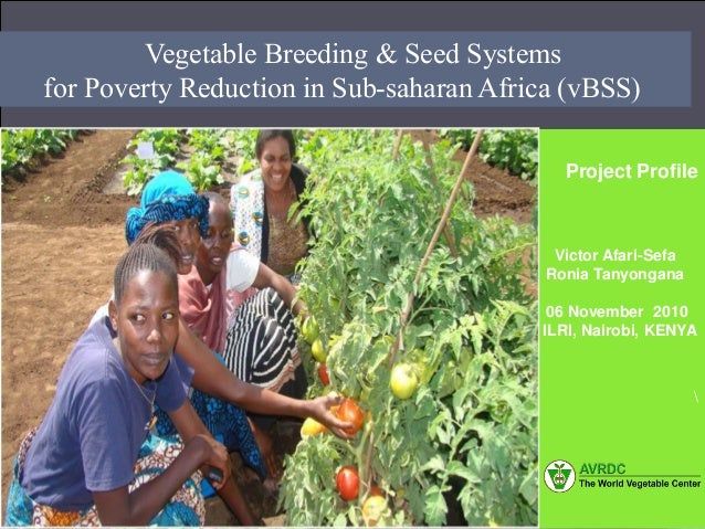 Author 03/09/2009Vegetable Breeding & Seed Systems for Poverty Reduction in Sub-saharan Africa (vBSS) Project Profile Vict...
