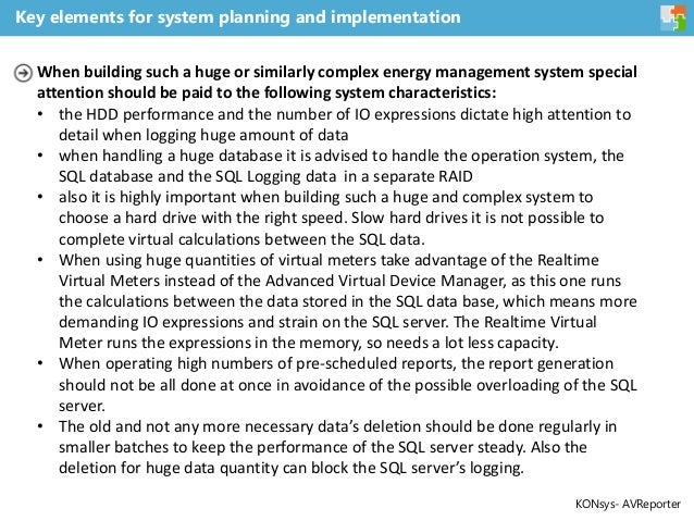 Key elements for system planning and implementation When building such a huge or similarly complex energy management syste...