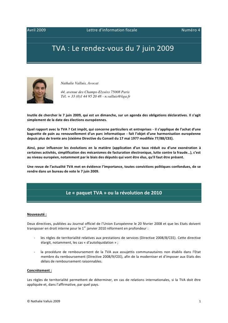 Avril 2009                                Lettre d'information fiscale                                Numéro 4            ...