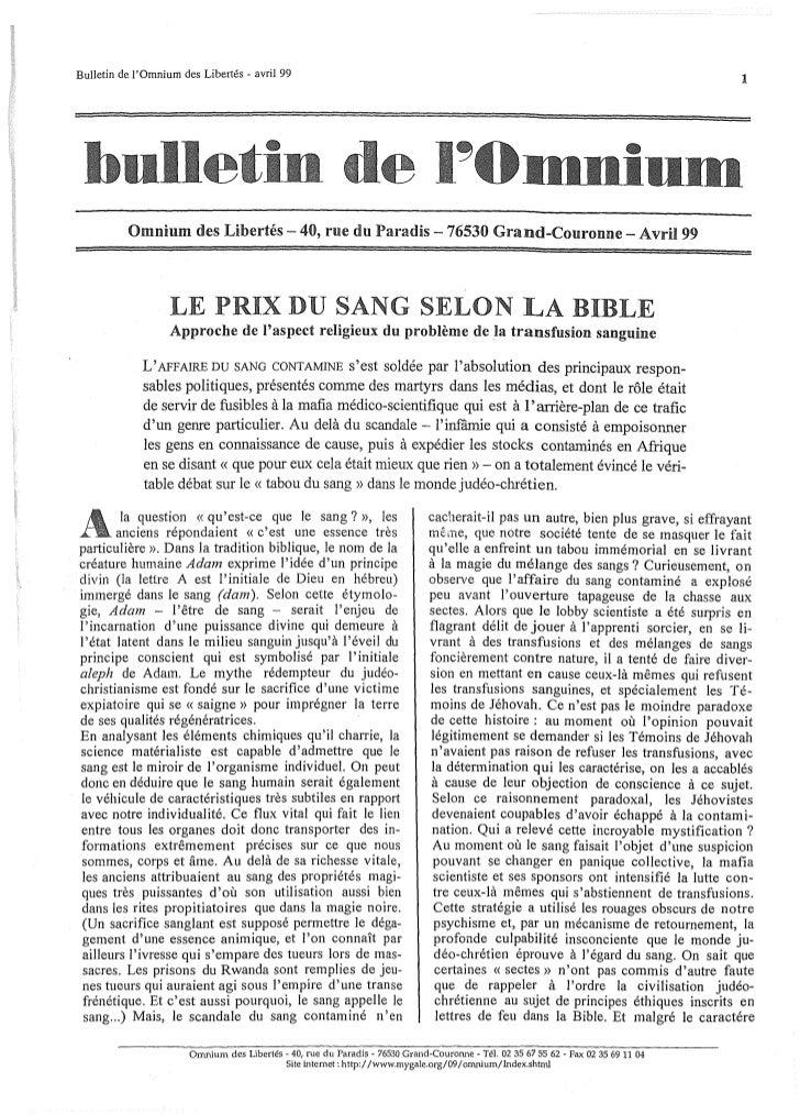 Bulletin de lOmnium des Libertés - avril 99                                                                               ...