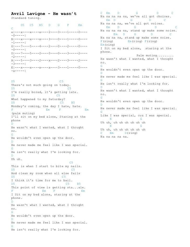 Avril lavigne chords