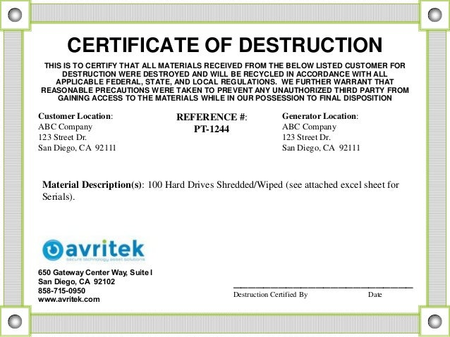 Data sanitization and disposal best practices for Hard drive destruction certificate template