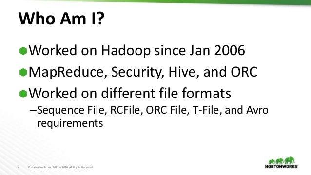 File Format Benchmarks - Avro, JSON, ORC, & Parquet Slide 2