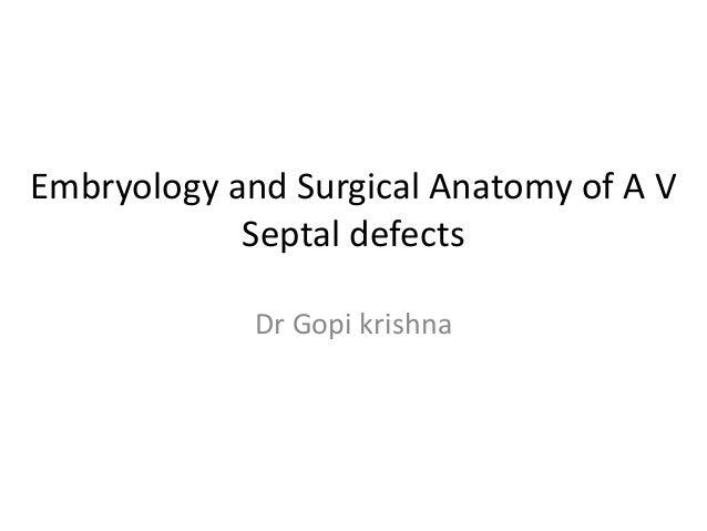 Embryology and Surgical Anatomy of A V            Septal defects             Dr Gopi krishna