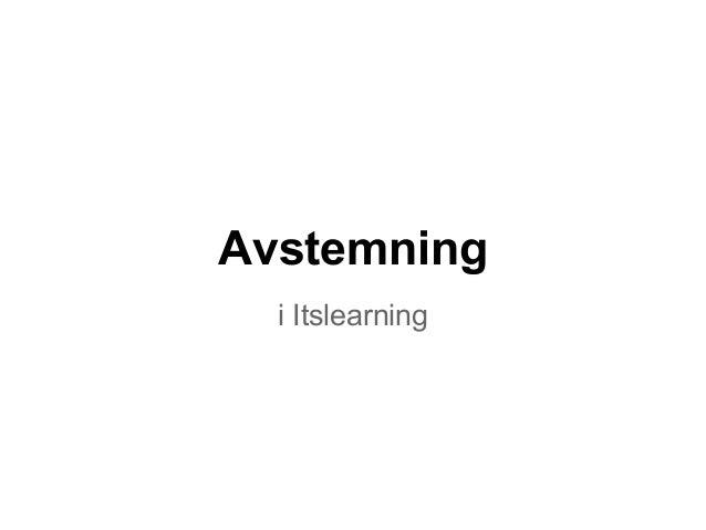 Avstemning  i Itslearning