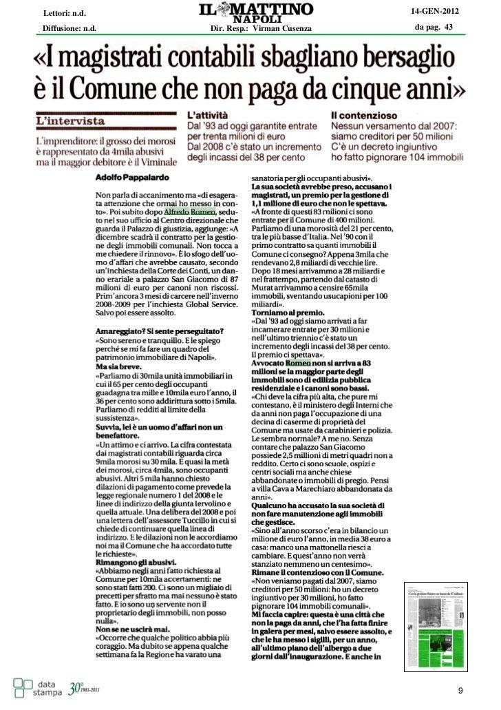 Lettori: n.d.                                   14-GEN-2012Diffusione: n.d.   Dir. Resp.: Virman Cusenza   da pag. 43