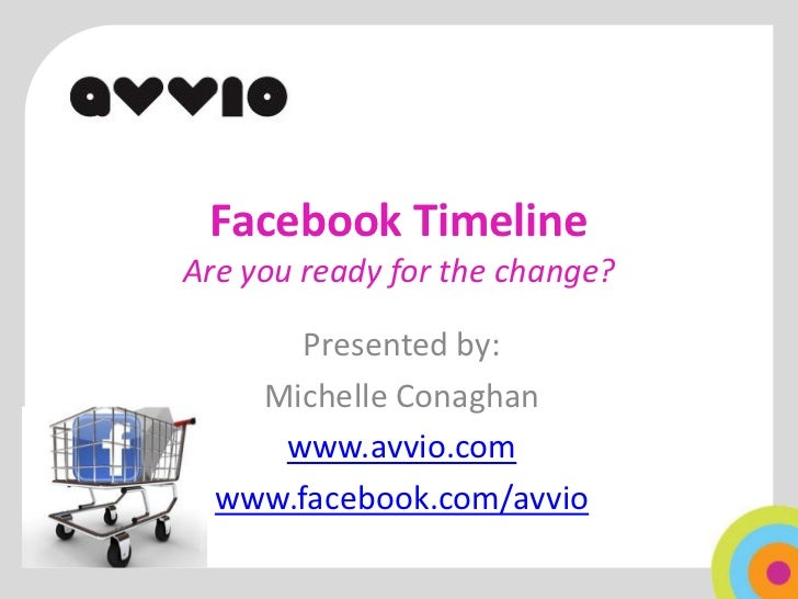 Facebook TimelineAre you ready for the change?       Presented by:    Michelle Conaghan     www.avvio.com  www.facebook.co...