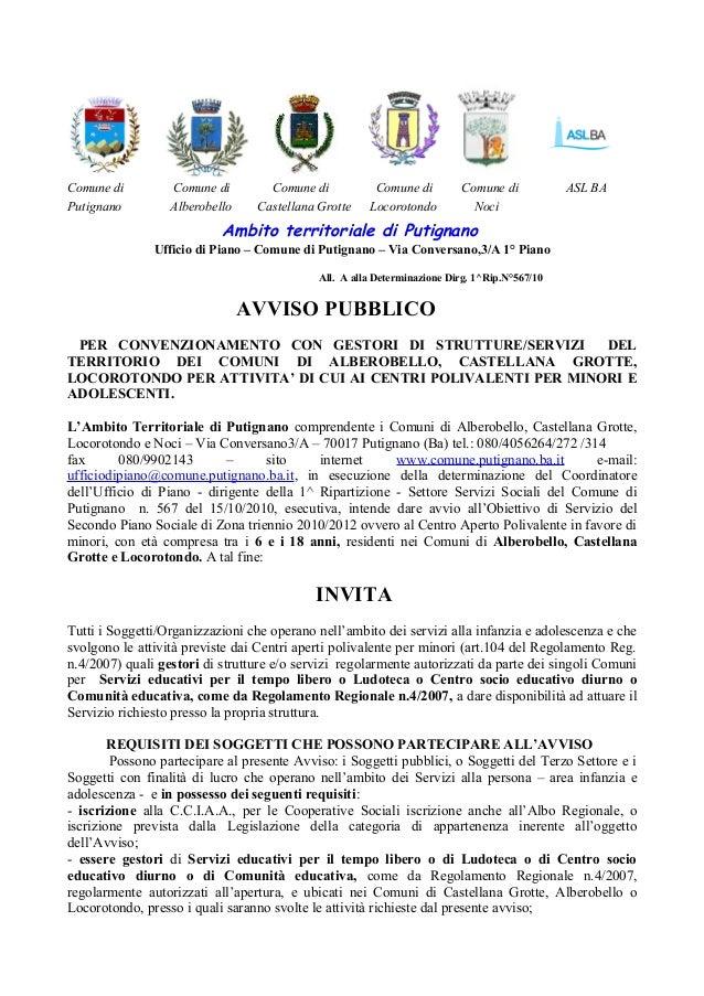 Ambito territoriale di Putignano Ufficio di Piano – Comune di Putignano – Via Conversano,3/A 1° Piano All. A alla Determin...