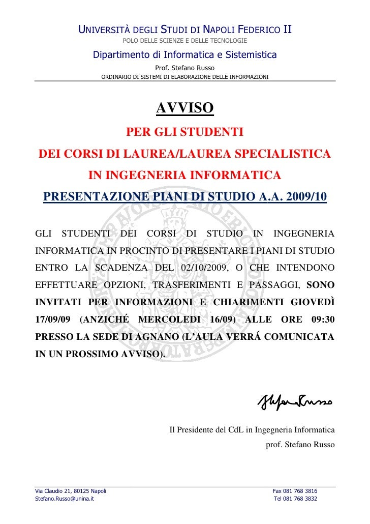 UNIVERSITÀ DEGLI STUDI DI NAPOLI FEDERICO II                                 POLO DELLE SCIENZE E DELLE TECNOLOGIE        ...