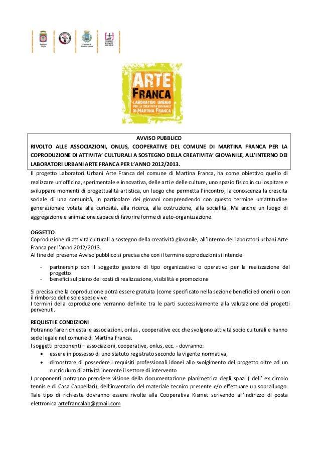 AVVISO PUBBLICORIVOLTO ALLE ASSOCIAZIONI, ONLUS, COOPERATIVE DEL COMUNE DI MARTINA FRANCA PER LACOPRODUZIONE DI ATTIVITA' ...