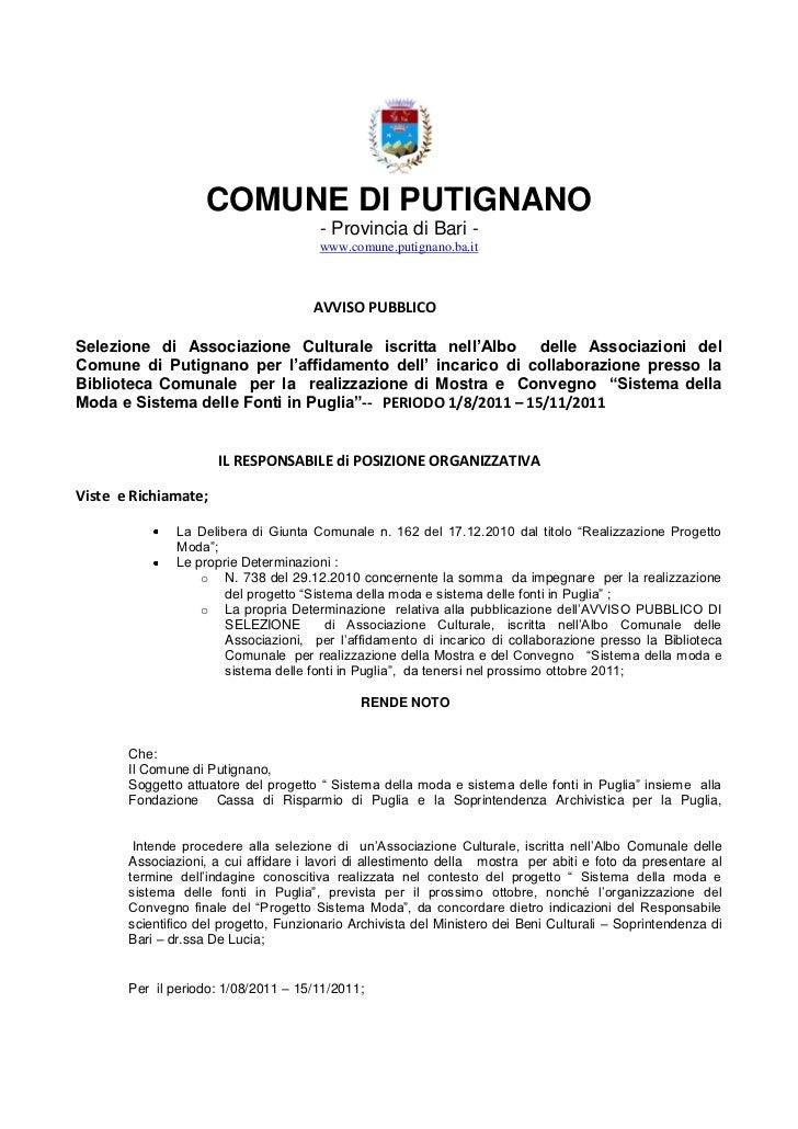 COMUNE DI PUTIGNANO                                       - Provincia di Bari -                                       www....