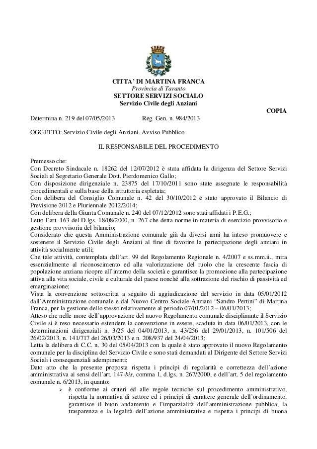 CITTA' DI MARTINA FRANCAProvincia di TarantoSETTORE SERVIZI SOCIALOServizio Civile degli AnzianiCOPIADetermina n. 219 del ...