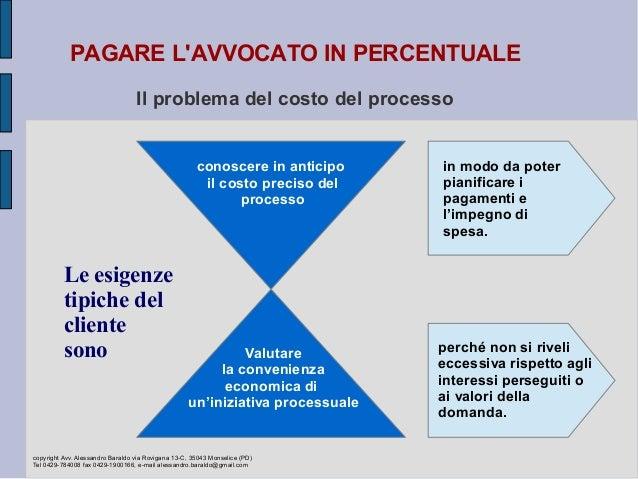 PAGARE L'AVVOCATO IN PERCENTUALE Il problema del costo del processo Le esigenze tipiche del cliente sono Valutare la conve...