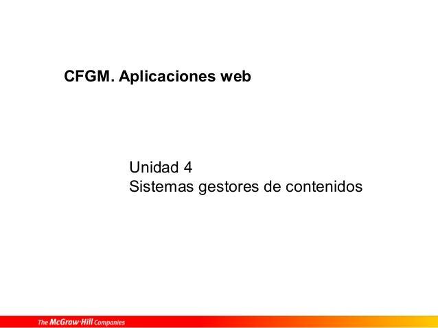 Unidad 4 Sistemas gestores de contenidos CFGM. Aplicaciones web