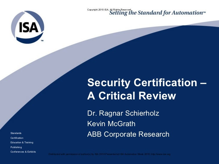 Security Certification Critical Review