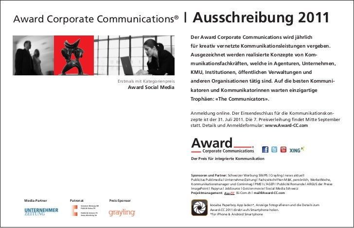 Award Corporate Communications®                                    Ausschreibung 2011                                     ...