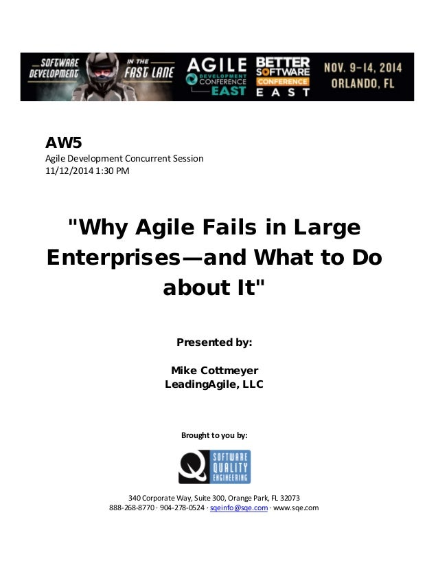 Why Agile Fails in Large Enterprises—and What to Do about It