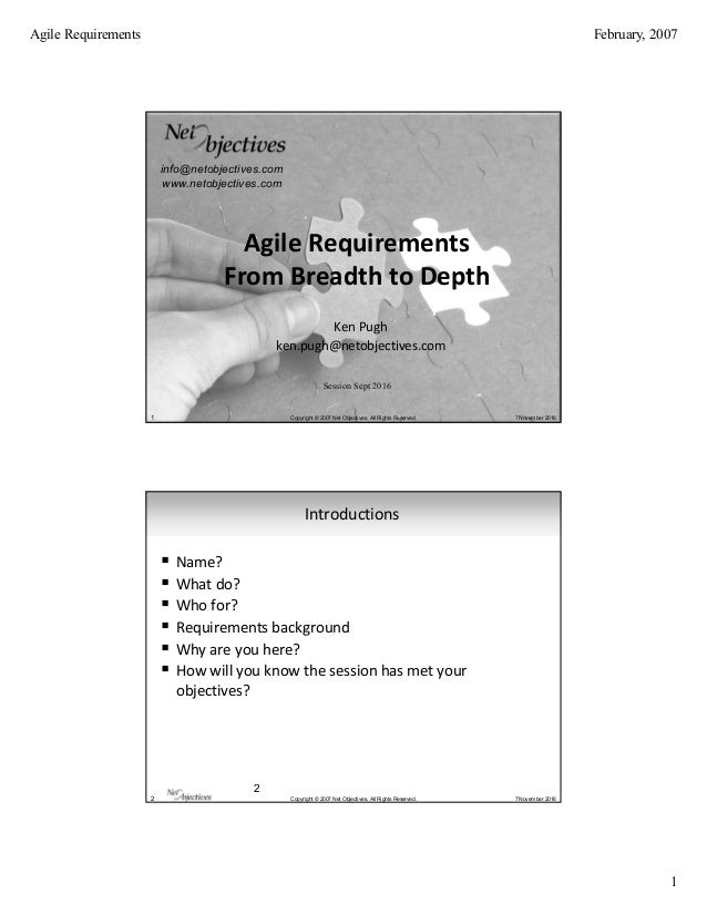 Agile Requirements From Breadth To Depth
