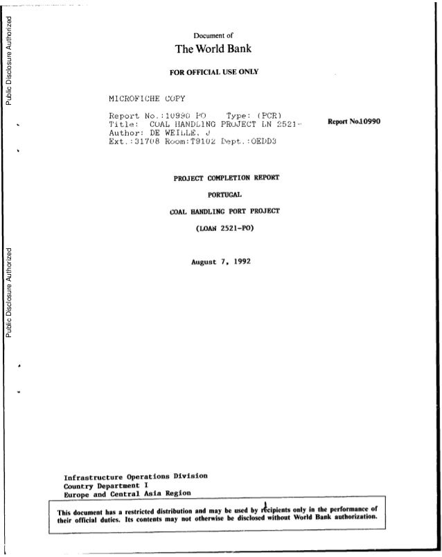 Documentof The WorldBank FOR OFFICIALUSE ONLY MICROFICHE COPY Report No. :10990 PO Type: (PCR) Title: COAL HAN)DLING PRUJE...
