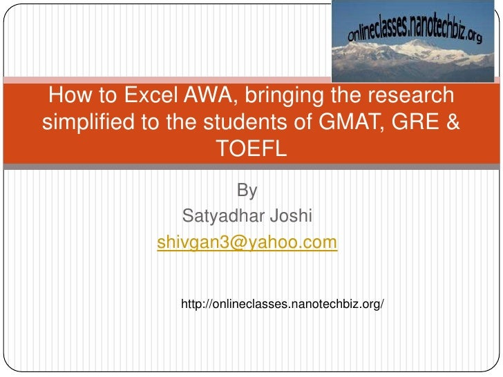 Awa: Presentation of the online free class GRE GMAT