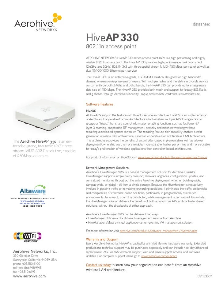 datasheet                                         HiveAP 330                                         802.11n access point ...