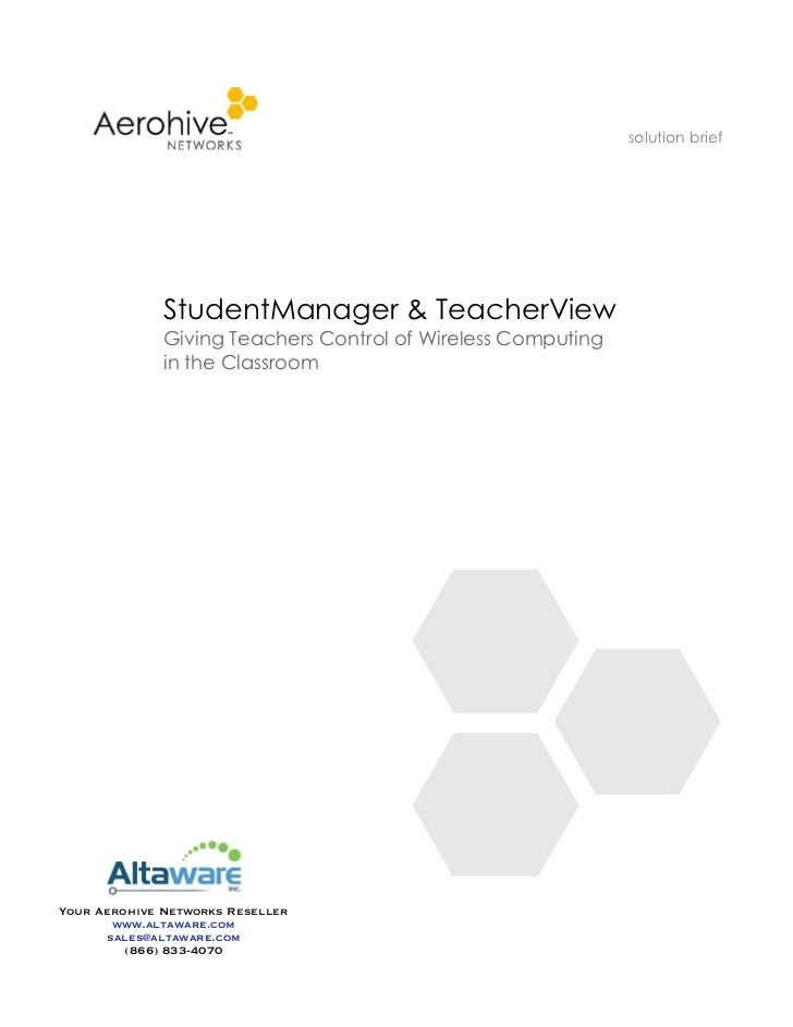 solution brief              StudentManager & TeacherView              Giving Teachers Control of Wireless Computing       ...
