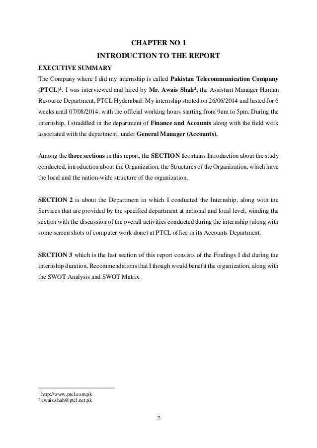 Sample preface for internship report