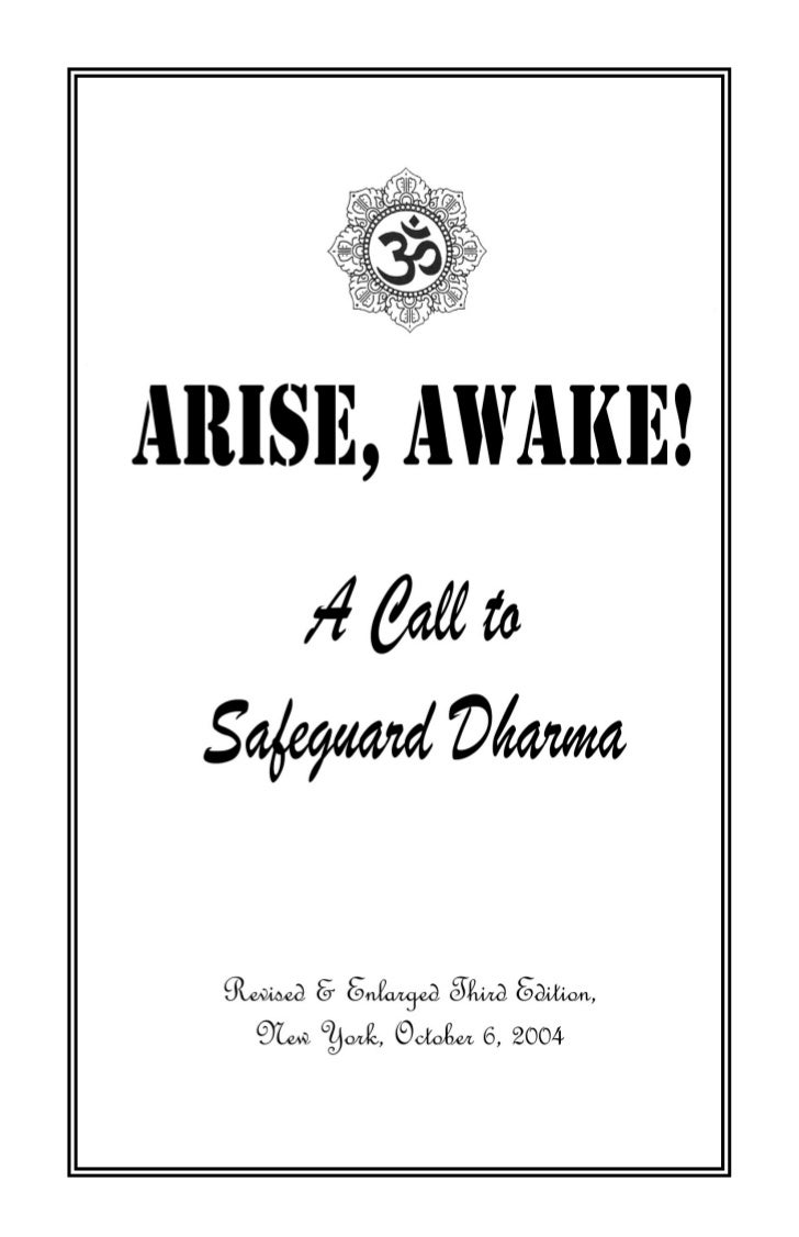CONTENTSBENEDICTION –3FOREWORD – 4INTRODUCTION – 5ARISE, AWAKE       AND BE   VIGILANT TO SAFEGUARD DHARMA -- 6 PROLOGUE: ...
